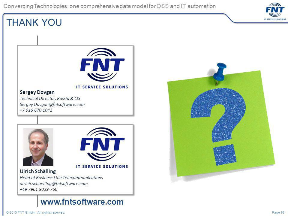 THANK YOU www.fntsoftware.com