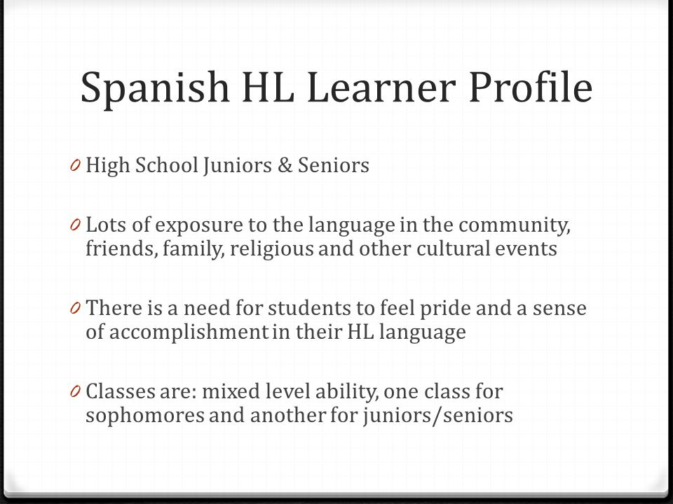 Spanish HL Learner Profile