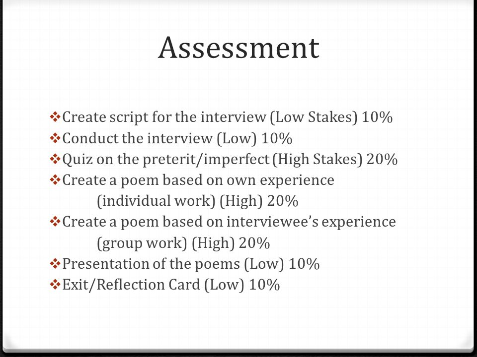 Assessment Create script for the interview (Low Stakes) 10%
