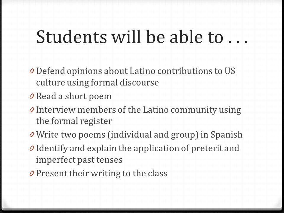 Students will be able to . . .