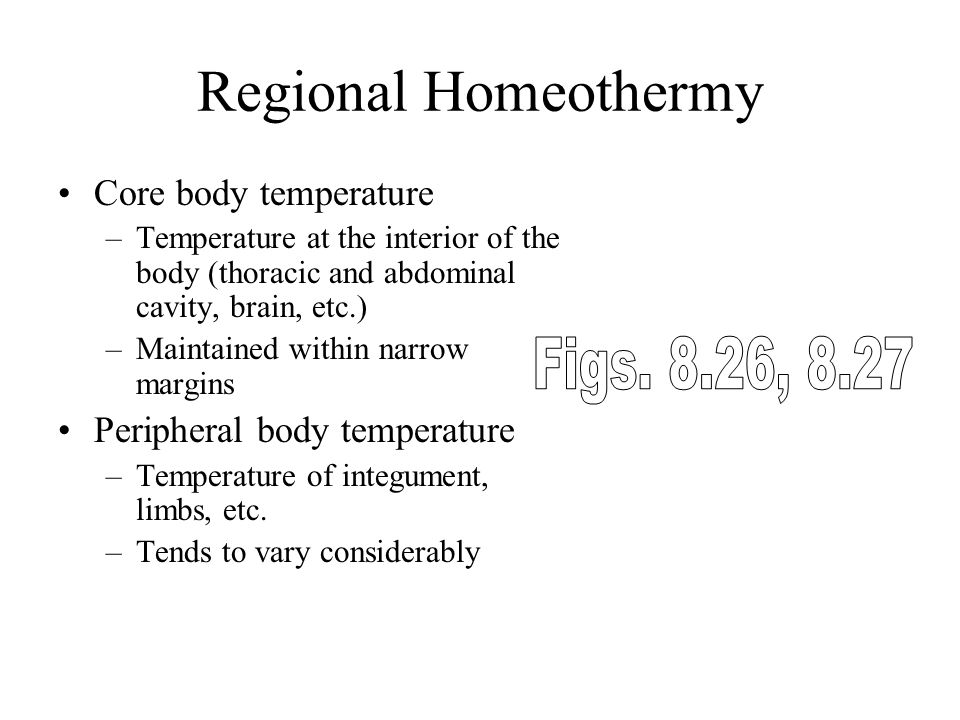 Regional Homeothermy Figs. 8.26, 8.27 Core body temperature