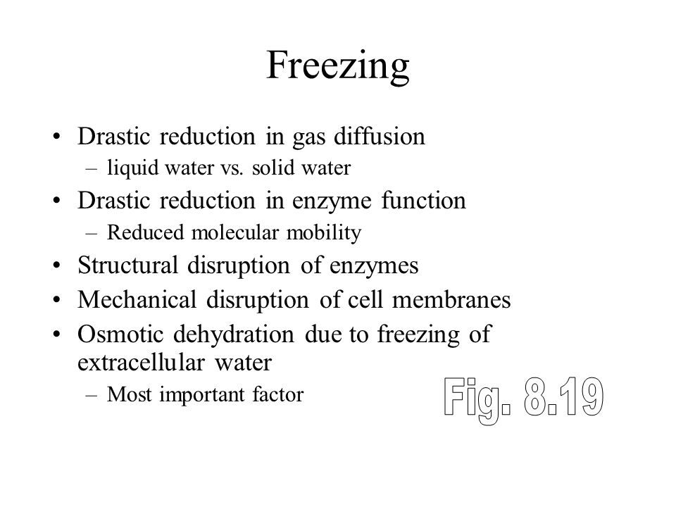 Freezing Fig. 8.19 Drastic reduction in gas diffusion