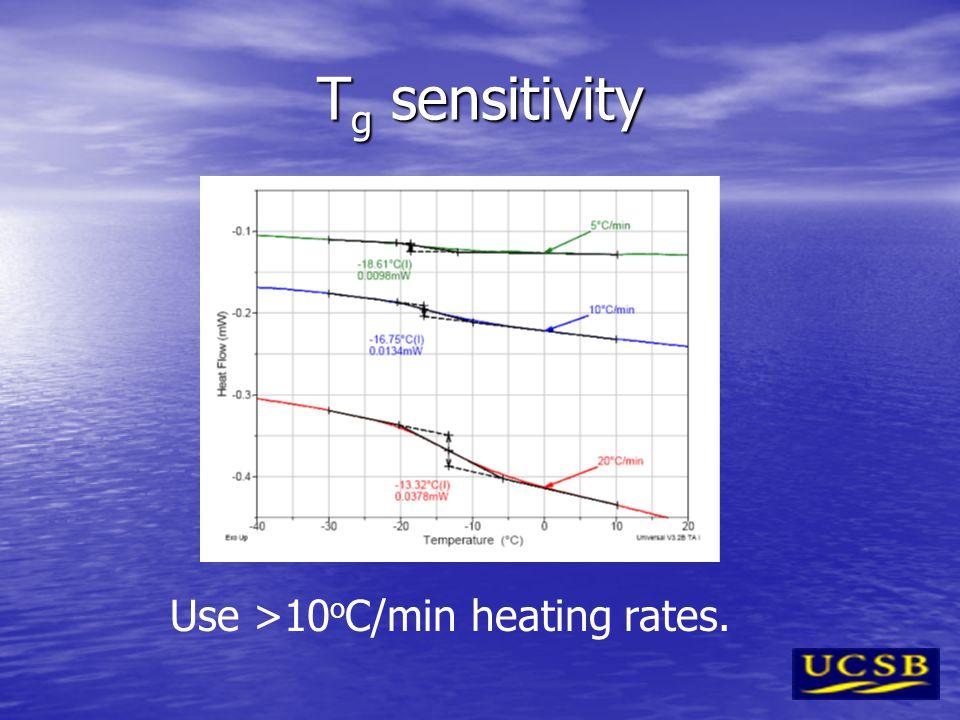 Use >10oC/min heating rates.