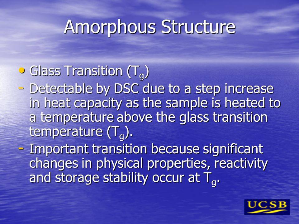 Amorphous Structure Glass Transition (Tg)