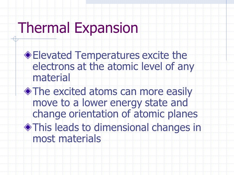 Thermal Expansion Elevated Temperatures excite the electrons at the atomic level of any material.
