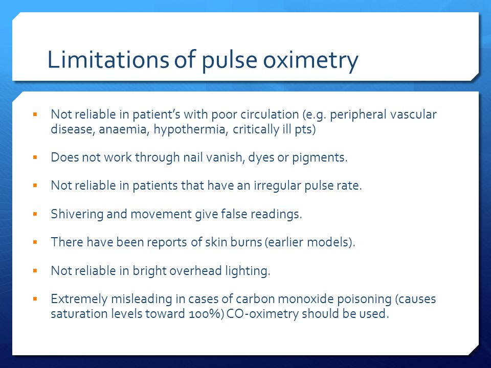 Limitations of pulse oximetry