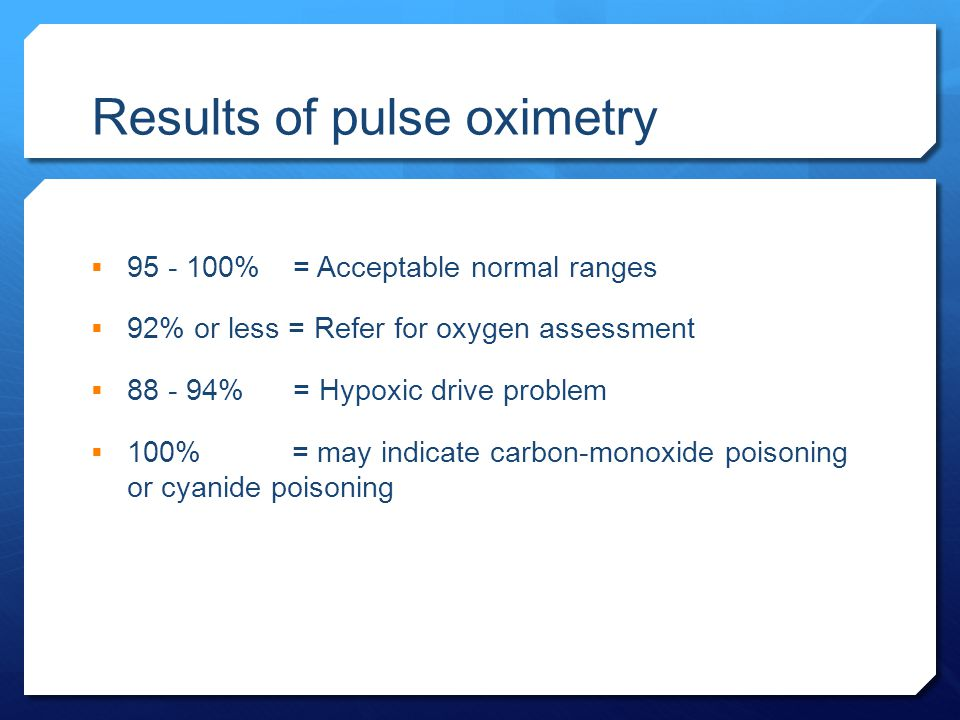 Results of pulse oximetry