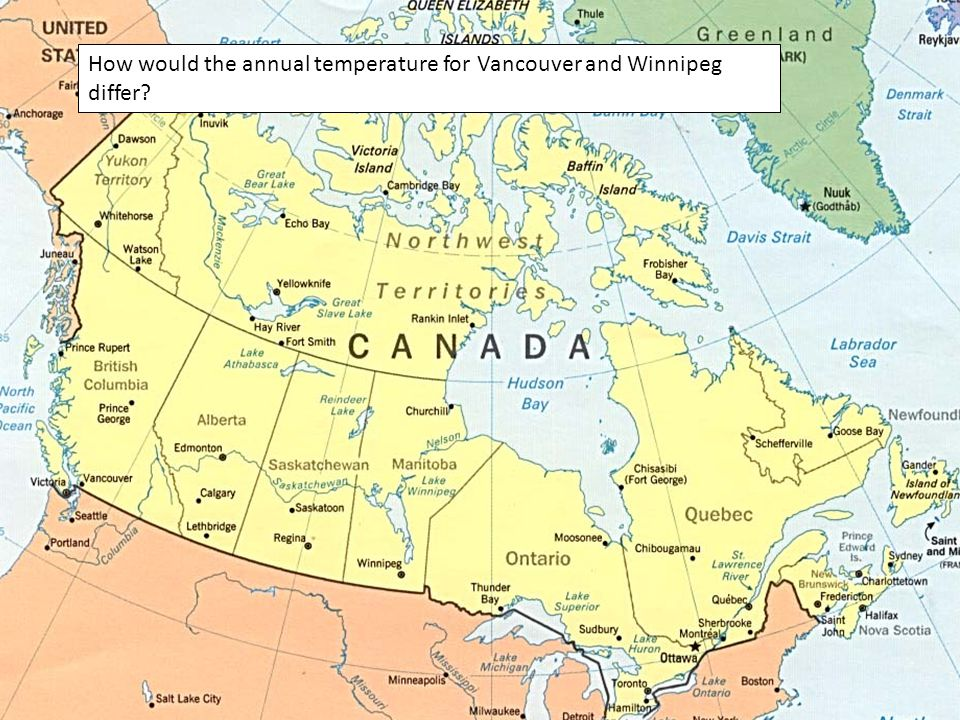 How would the annual temperature for Vancouver and Winnipeg differ