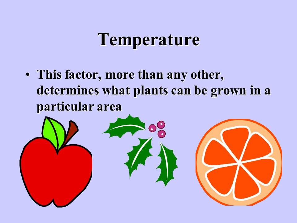 Temperature This factor, more than any other, determines what plants can be grown in a particular area.
