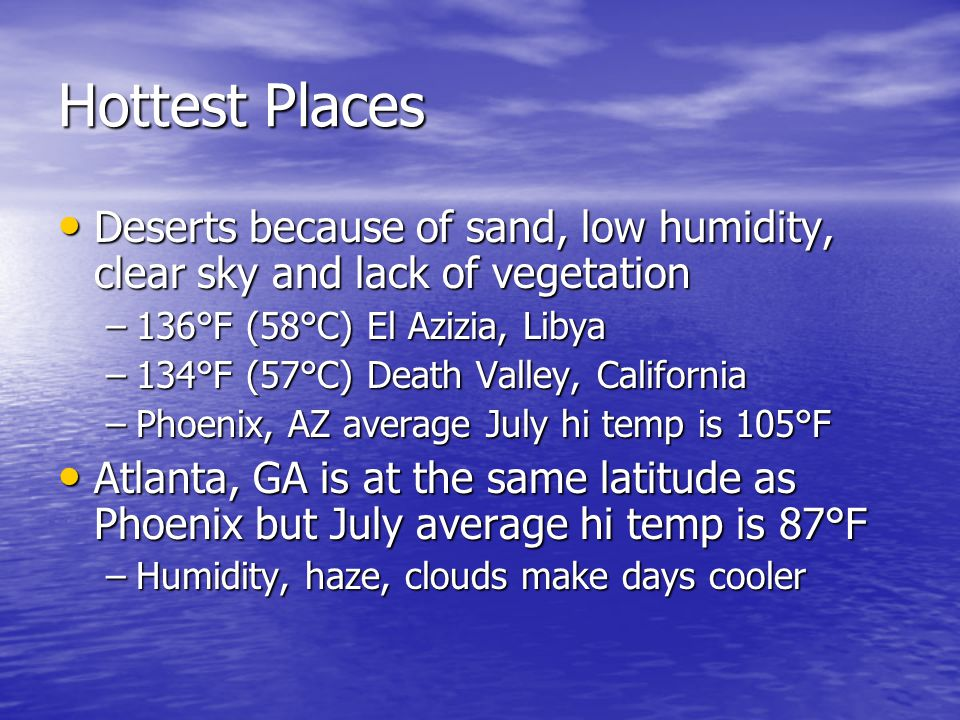 Hottest Places Deserts because of sand, low humidity, clear sky and lack of vegetation. 136°F (58°C) El Azizia, Libya.