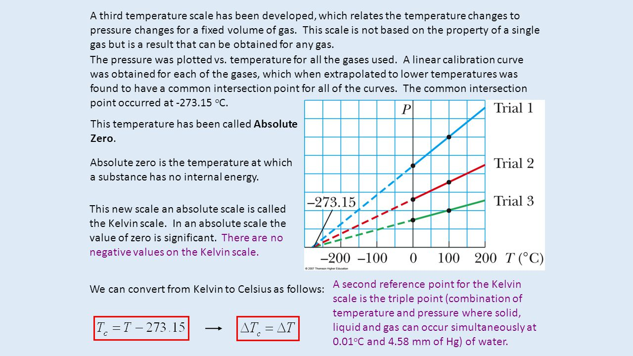 A third temperature scale has been developed, which relates the temperature changes to pressure changes for a fixed volume of gas. This scale is not based on the property of a single gas but is a result that can be obtained for any gas.