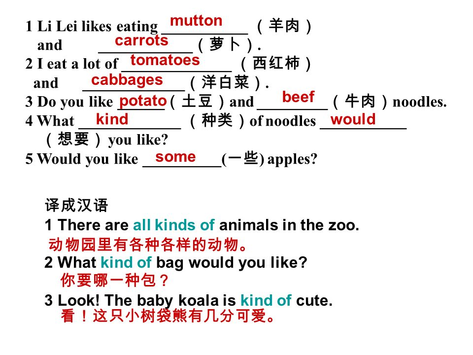 1 Li Lei likes eating ___________ (羊肉) and ____________(萝卜).