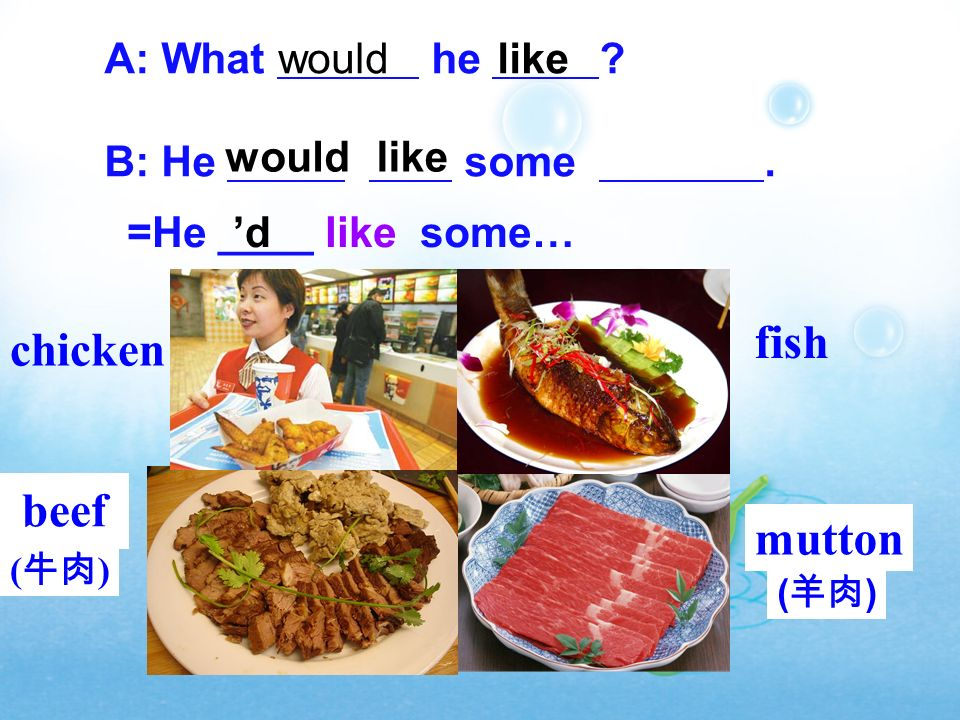 fish chicken beef mutton A: What he B: He some . would like would