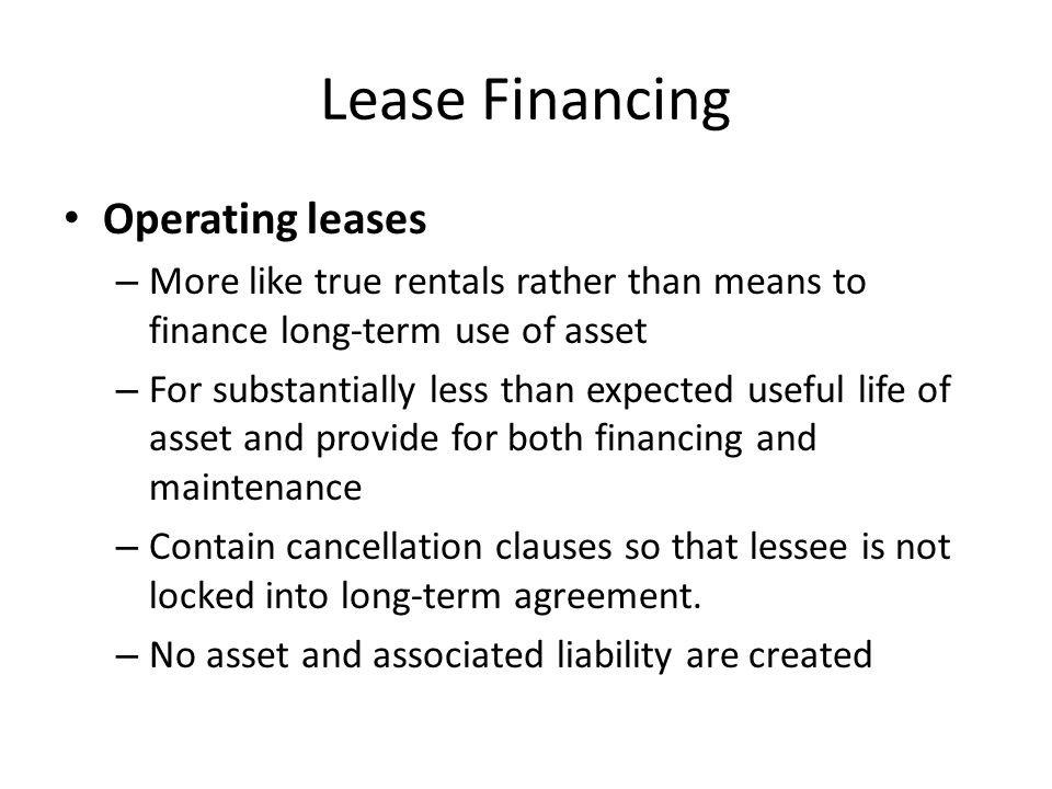 Lease Financing Operating leases