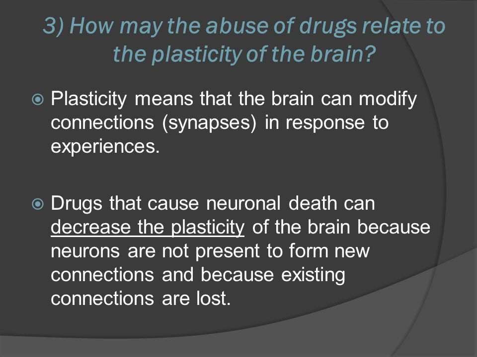 3) How may the abuse of drugs relate to the plasticity of the brain