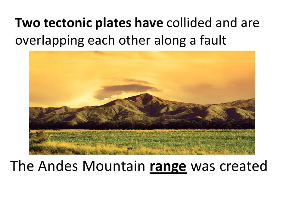 The Andes Mountain range was created