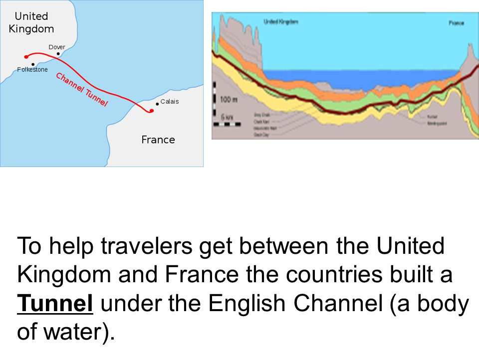 To help travelers get between the United Kingdom and France the countries built a Tunnel under the English Channel (a body of water).