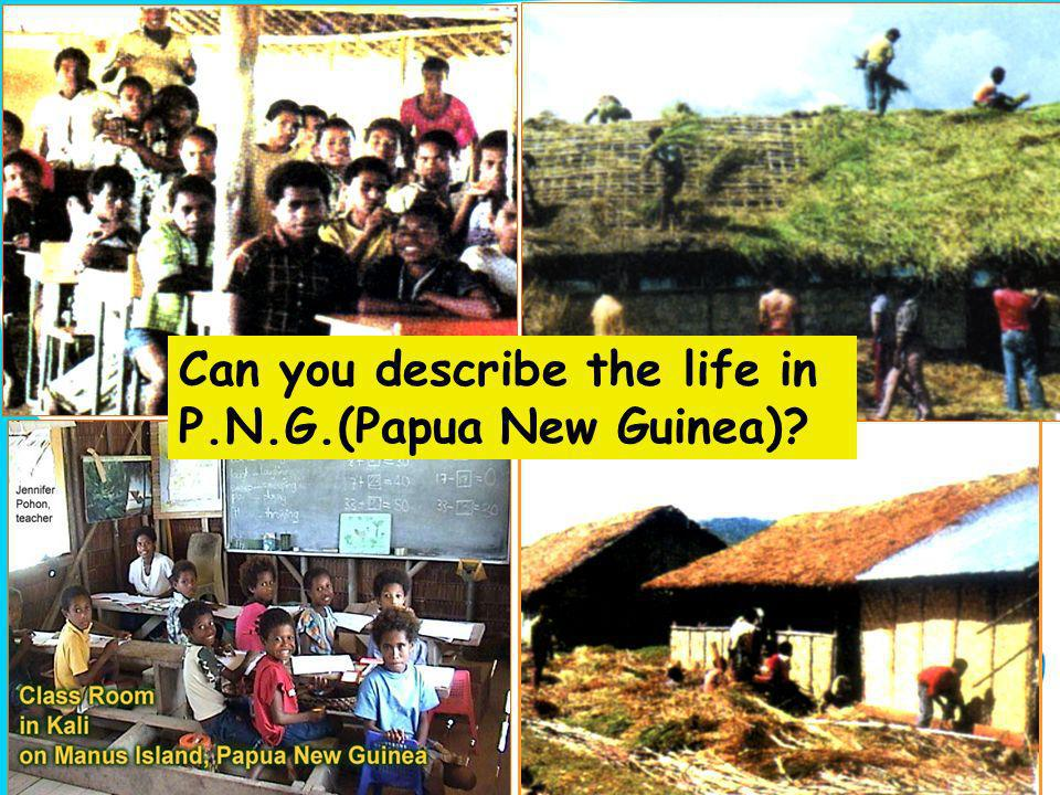 Can you describe the life in P.N.G.(Papua New Guinea)