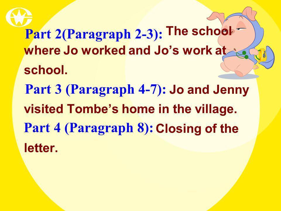 Part 2(Paragraph 2-3): Part 3 (Paragraph 4-7): Part 4 (Paragraph 8):