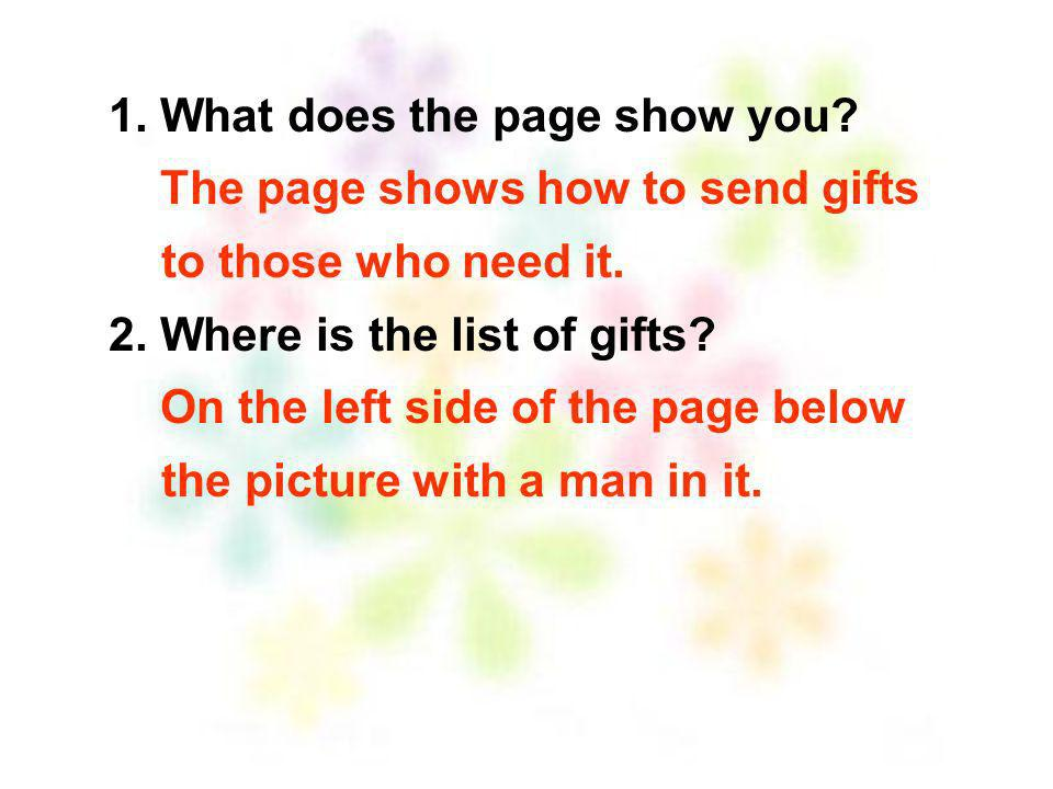 1. What does the page show you
