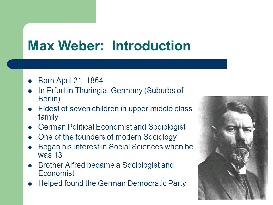 Max Weber: Introduction