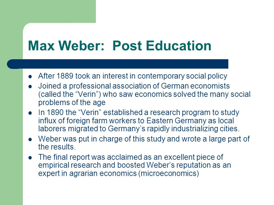 Max Weber: Post Education
