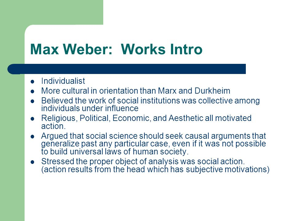 Max Weber: Works Intro Individualist
