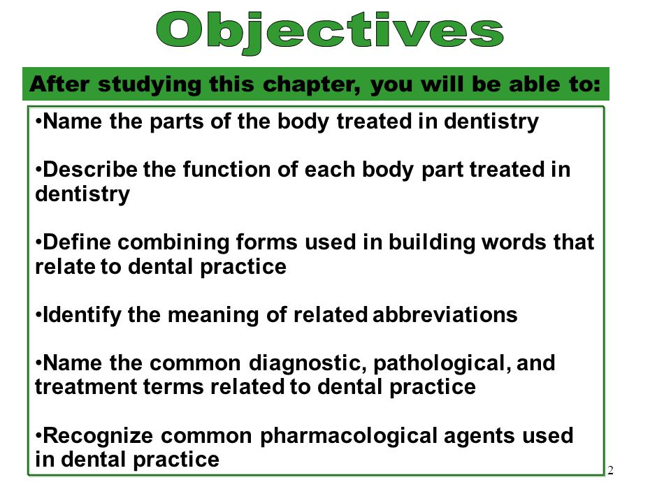 Objectives Objectives