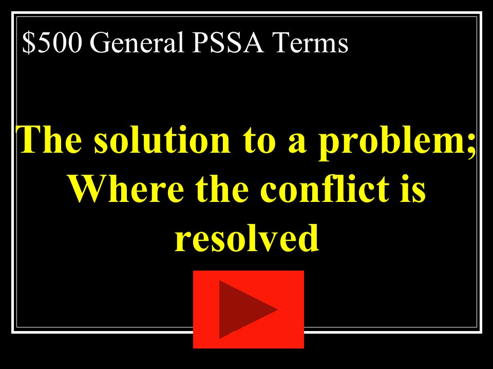 The solution to a problem; Where the conflict is resolved