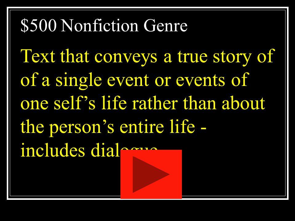 $500 Nonfiction Genre