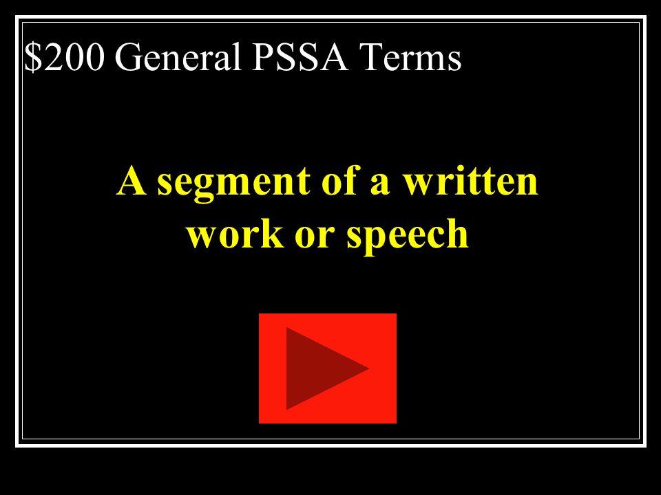 A segment of a written work or speech