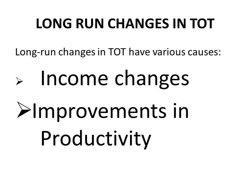 Improvements in Productivity