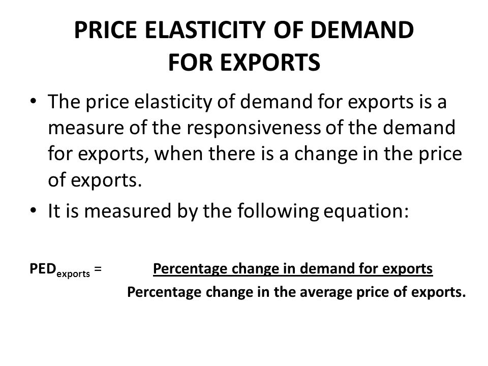 PRICE ELASTICITY OF DEMAND FOR EXPORTS