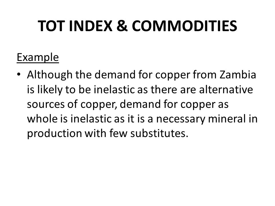 TOT INDEX & COMMODITIES