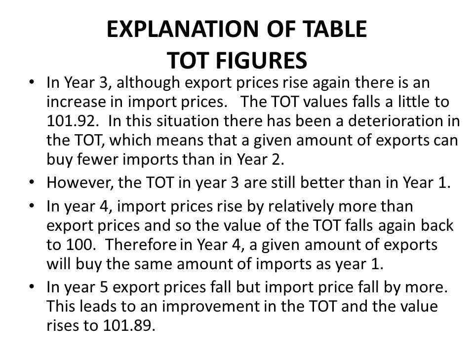 EXPLANATION OF TABLE TOT FIGURES
