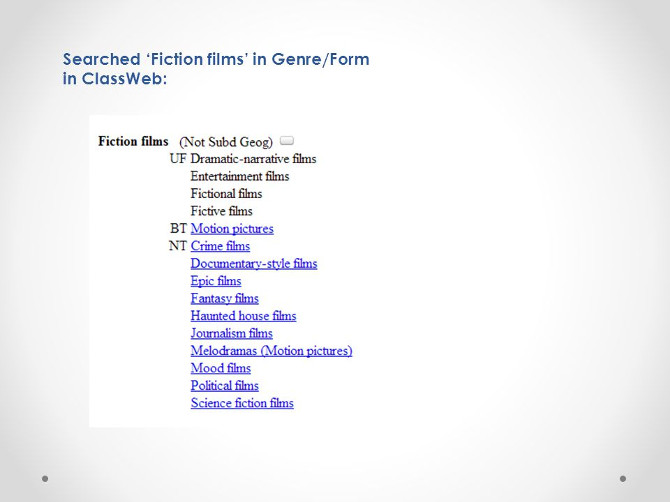 Searched 'Fiction films' in Genre/Form in ClassWeb: