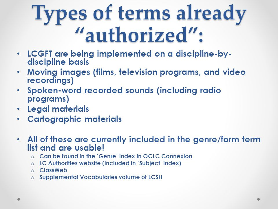 Types of terms already authorized :
