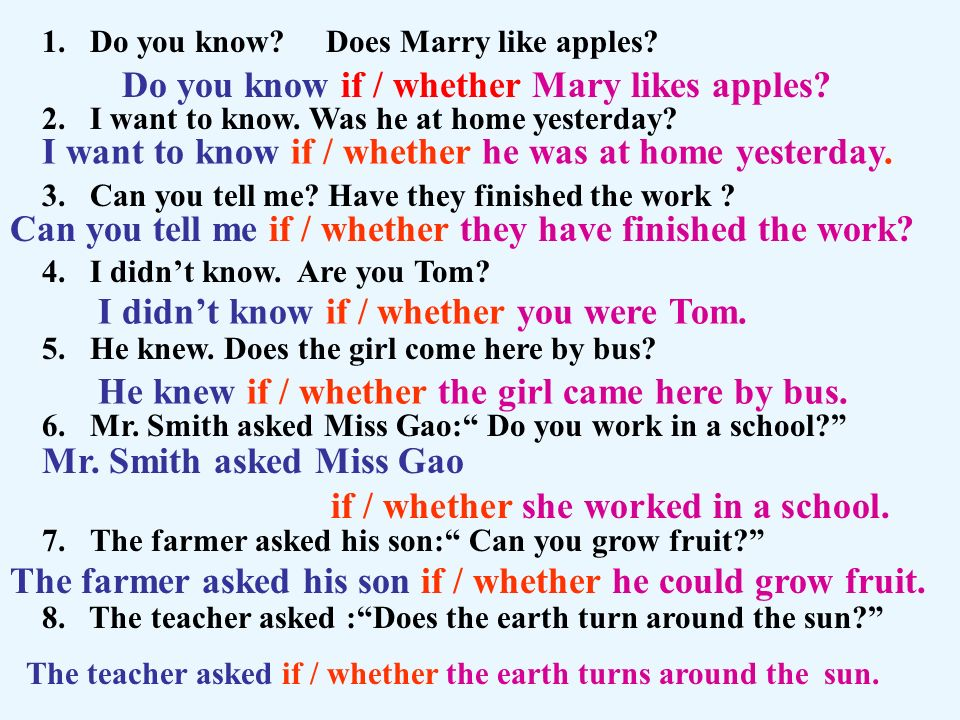 Do you know if / whether Mary likes apples