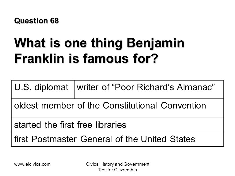 Question 68 What is one thing Benjamin Franklin is famous for