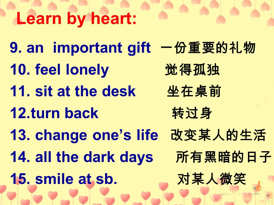 Learn by heart: 9. an important gift 一份重要的礼物 10. feel lonely 觉得孤独