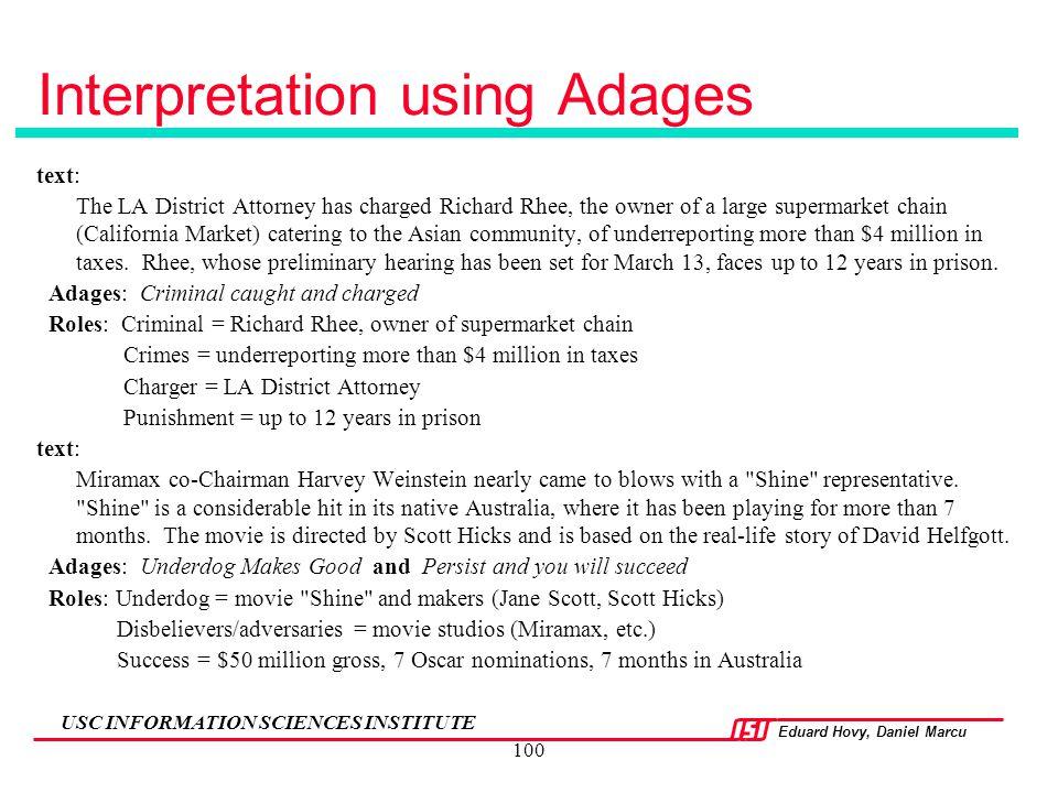 Interpretation using Adages