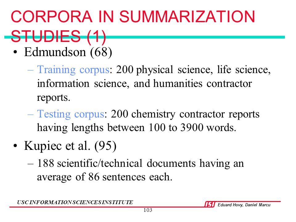 CORPORA IN SUMMARIZATION STUDIES (1)