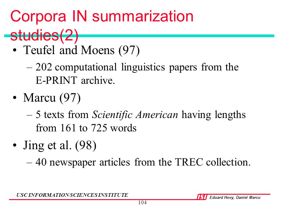 Corpora IN summarization studies(2)