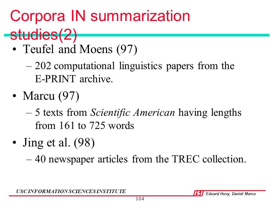 Corpora IN summarization studies(2)