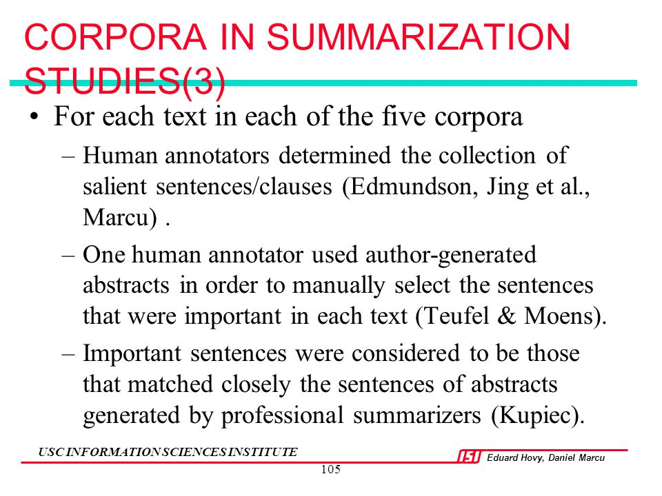 CORPORA IN SUMMARIZATION STUDIES(3)