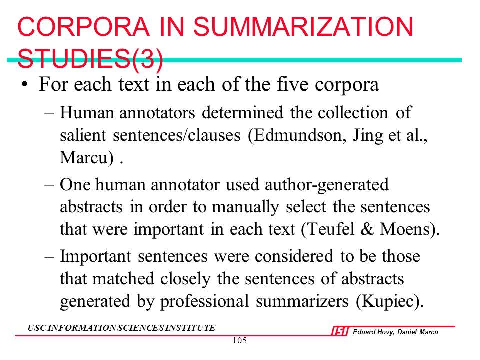 CORPORA IN SUMMARIZATION STUDIES(3)