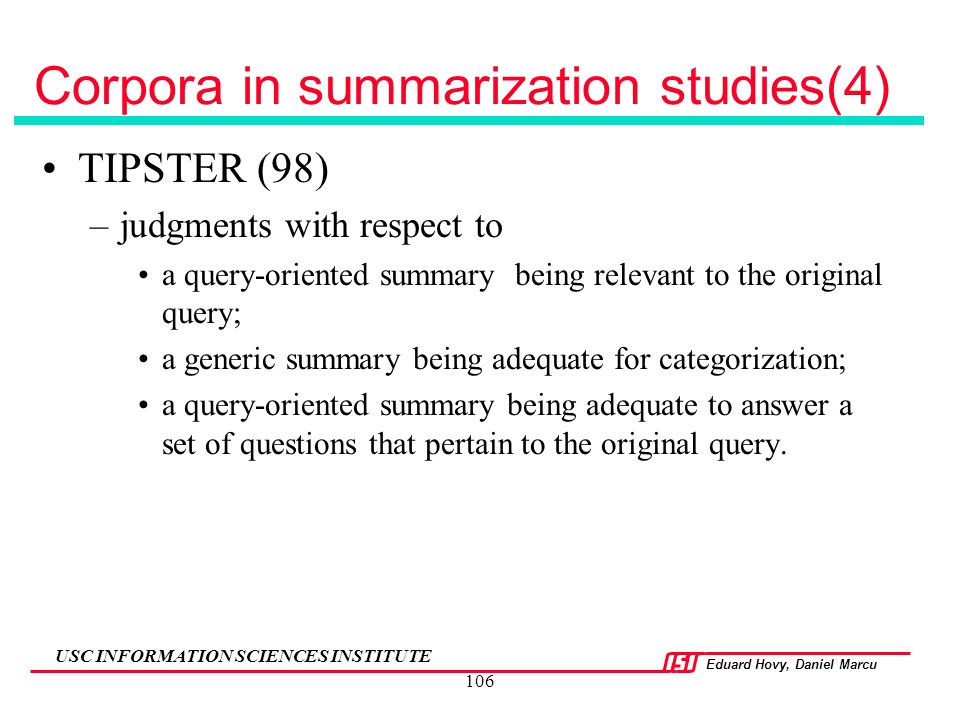 Corpora in summarization studies(4)