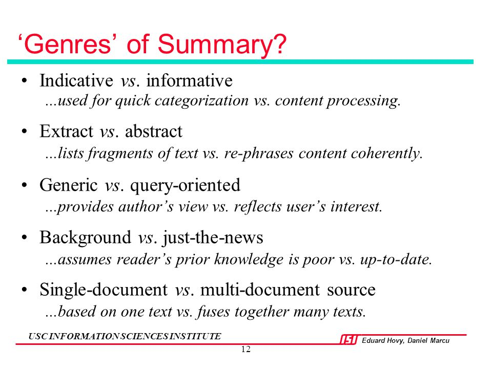 'Genres' of Summary Indicative vs. informative Extract vs. abstract