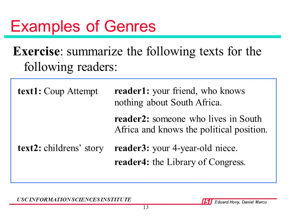 Examples of Genres Exercise: summarize the following texts for the following readers: text1: Coup Attempt.
