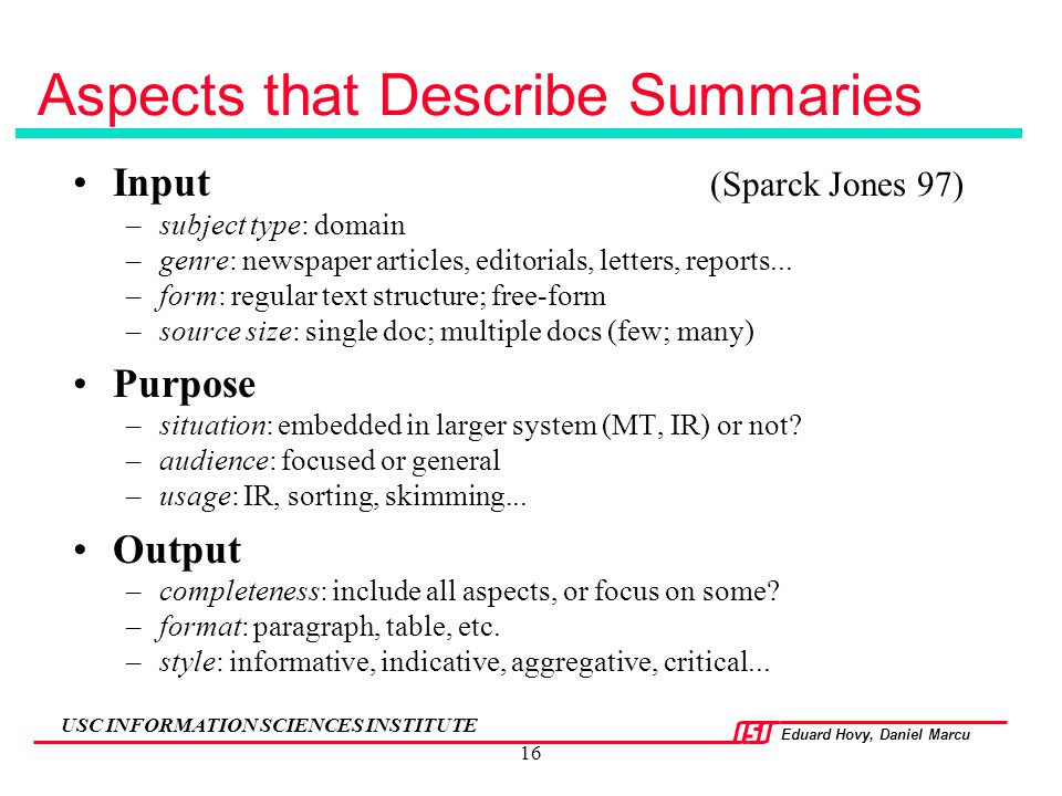 Aspects that Describe Summaries